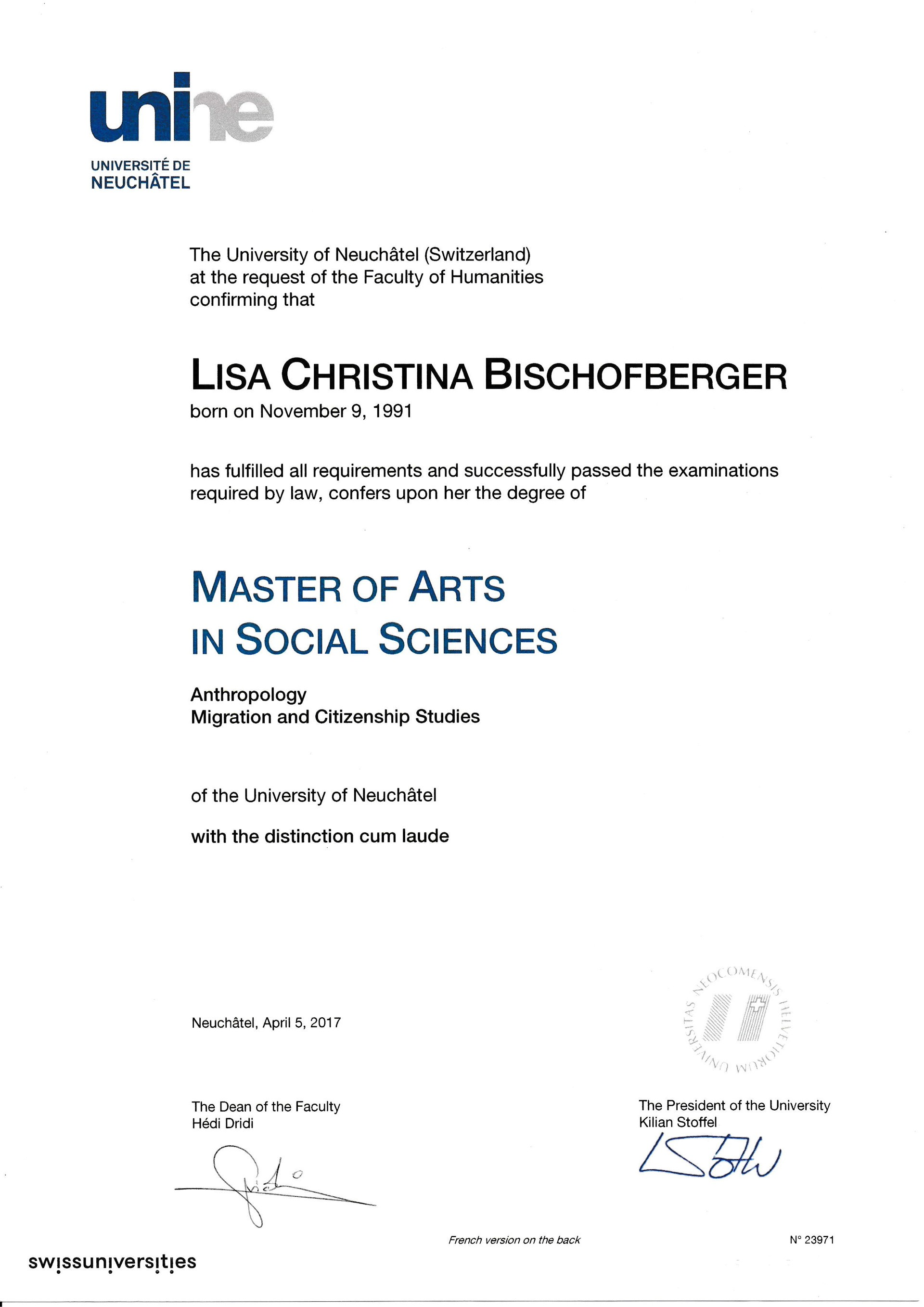 Master of Arts in Social Sciences - Lisa Filipe